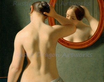 """Christoper Eckersberg """"Nude Woman Fixing Her Hair in Front of a Mirror"""" 1853 Reproduction Digital Print"""