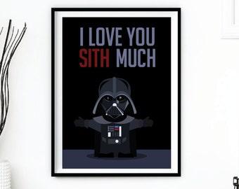 "Darth Vader ""Sith Much"" Star Wars Valentine Printable INSTANT DOWNLOAD"