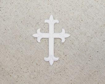 """Fleur De Lis - Religious Cross - White - 4"""" - Embroidered Patch - Iron on Applique - WA023"""