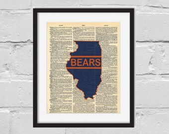 Chicago Bears Print. Dictionary Art Print.