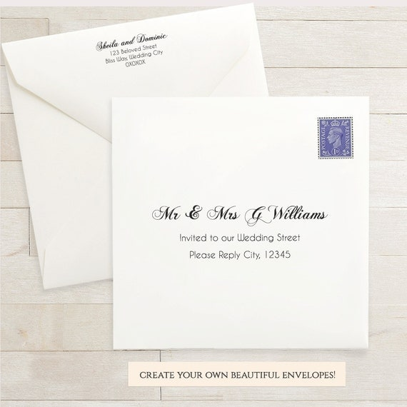 Printable Wedding 6x6 Envelope Template 6 X 6 Invitation