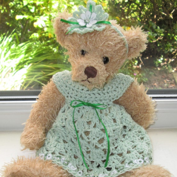 teddy bear clothes hand crochet pale green cotton dress with