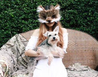 Wild Coyote Faux Fur Mask, handmade by Spirit Parade