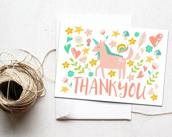 Unicorn Thank You Card Printable Instant Download, Whimsical Unicorns Party, DIY Thank Yous, Rainbow, Girl Birthday Thank You, Girly
