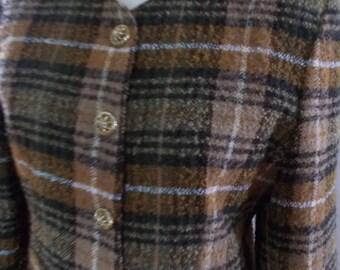Vintage plaid tartan jacket by David Barry taupe plaid collarless jacket size medium large