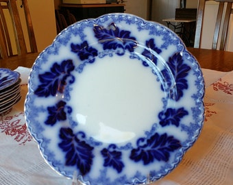 Beautiful Flow Blue Dinner Plate in the Normandy Pattern by Johnson Bros of England