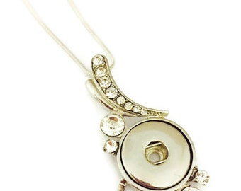 Snap Jewelry- Snap Necklace- Snap Necklace With Rhinestones- Fits All 18mm Ginger Snap and Noosa Snap Charms And Snap Buttons