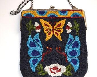 Antique Beaded Purse Butterfly Handbag Art Nouveau Fashion Bag Double Sided Silver Framed Vintage Handmade Purse