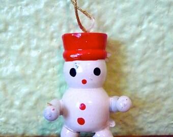 Vintage Wooden Snowman Ornament