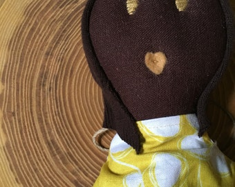 "Olivia, 18"" Brown linen fabric doll, yellow and white cotton dress, black rag doll, African American fabric doll. Ready to ship."