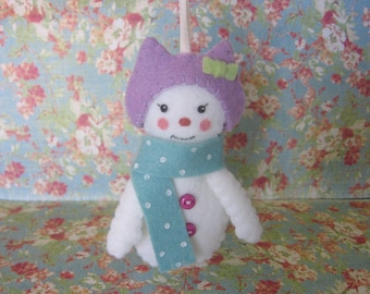 Snowgirl (Snowman) Ornament with Cat-ear Hat and Polka-dot Scarf