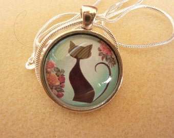 Cat Pendant 1 inch with 16 inch Chain