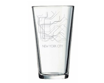 NYC Subway Pint Glass, New York City, Etched Pint Glass, NYC Pint Glass, Subway Map, New York City Pint Glass, NYC Beer Glass, Beer Glass
