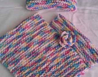 Hand Knitted Poncho Set