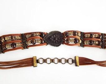 Indian Leather Belt Vintage Leather Belt Unique Handmade Belt Boho Tan Leather Heart shape Bucke Indian Beaded Belt