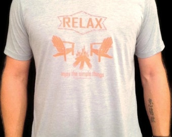 Relax enjoy the simple things,Men's T-shirt,Camp Fire,Bonfire,Outdoors,Adirondacks,Chair,Wood,Fire,Nature,Serenity,Flames,Gift Ideas,Camping