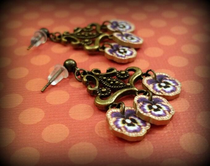 Pansy Earrings - Pansy Jewelry - Flower Earrings - Flower Jewelry - Chandelier Earrings - Costume Jewelry - Pansies - Boho Earrings - Art