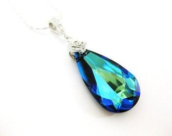 Bermuda Blue Necklace Swarovski Crystal Teardrop Necklace Wedding Jewelry Bridal Drop Necklace Bridesmaid Gift Sparky Necklace (N001)
