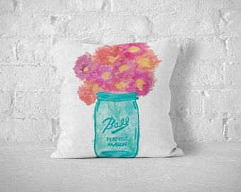 Mason Jar Pillow, Decorative Pillows, Watercolor Art, Mason Jar Decor, Throw Pillows, Boho, Pillow Cover