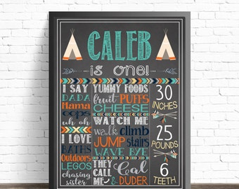 First Birthday Chalkboard Sign / Tribal Decorations / Arrows and Feathers / Tribal Party Decor / Boho Baby Birthday / Printable Poster
