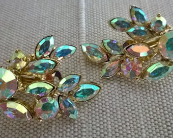 Aurora borealis rhinestone climber earrings, fancy gold tone clip back earrings with aurora borealis rhinestones
