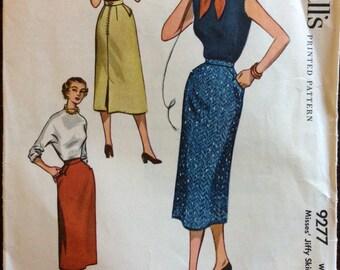 McCalls 9277 - 1950s Jiffy Straight Skirt with Novelty Slash Pockets - Size Waist 24