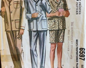 McCalls 6597 - 1960s Mens Pajama Set - Size Medium 38 40