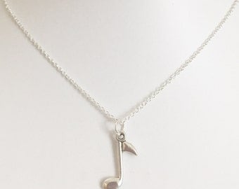 Silver Music Note Necklace
