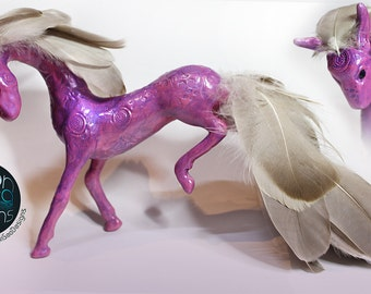 READY TO SHIP 'Alya' - Polymer Clay Feathered Horse Fantasy Sculpture | Handmade, Unique Gift for Equine Lovers, Pegusus, Unicorn