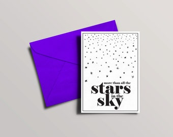Cute anniversary card | Funky Valentines day card |All the stars in the sky | Graphic greetings cards | Love birthday card
