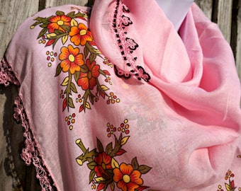 Pink Yemeni Scarf - Traditiona Turkish Oya Scarf -  Needle Crochet Yemeni - Handmade Shawl