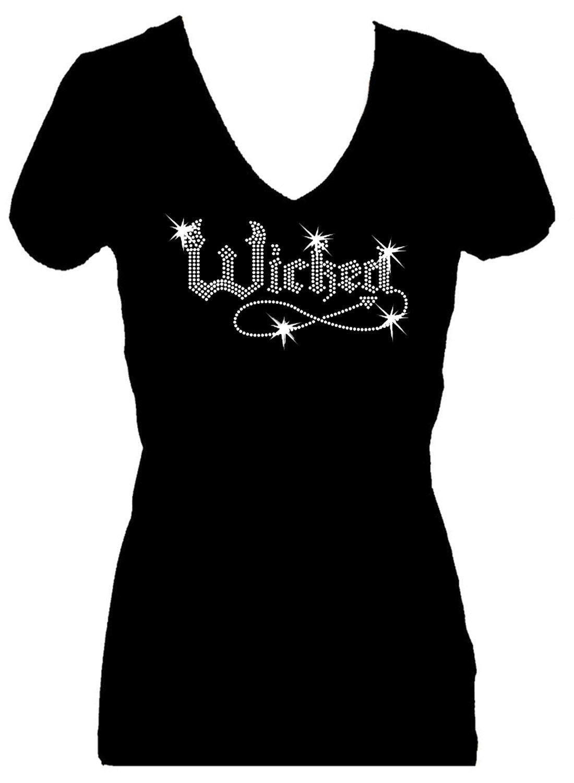 Wicked halloween holiday rhinestone v neck short sleeve for Women s embellished t shirts