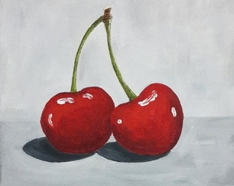 Cherry Painting, Two Cherries Acrylic Painting, Kitchen Art, 6x6 Inches Canvas, Tiny Art
