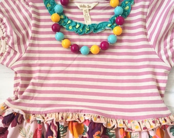 M2M Matilda Jane, M2M Once Upon A Time, M2M Chrysalis Dress, Blue Magenta and Mustard Yellow Bubblegum Necklace, Toddler Necklace, Bracelet