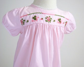 1960s Pink Baby Dress, Baby Clothes, 9 Months