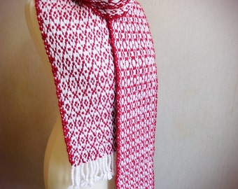 Handwoven scarf woven scarf hot red scarf, chunky scarf, long scarf