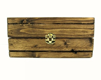 wood storage box. dark walnut stained wooden gift box with latch - small wood storage lid e
