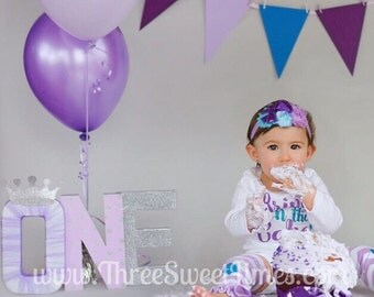 Birthday Outfit Bring On The Cake Glitter Bodysuit | Optional Leg Warmers Headband Set | Purple And Teal Glitter First Baby Girl Outfit