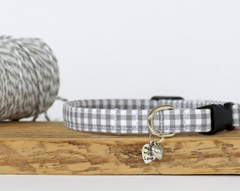 Small Dog or Puppy Collar, Grey Gingham, Handmade, Made To Measure