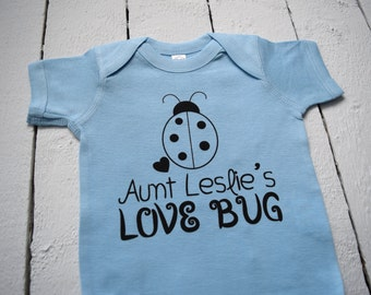 Personalized Name Aunt's Love Bug Ladybug Cute Funny Blue Baby One Piece