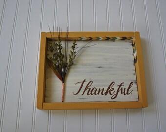 SALE!  Thankful framed floral sign     #f1
