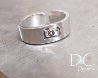 SALE Silver Stamped Ring - Camera Ring - Stamped Sterling - Photography Jewelry - Photographer Gift - Handstamped - Silver Camera Ring