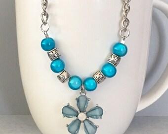 Flower necklace, blue necklace, pendant necklace, blue flower necklace, spring necklace, blue bead necklace, chain necklace