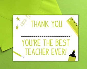 Best Teacher Thank You Card
