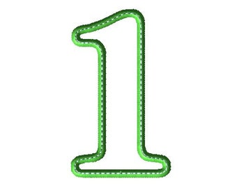 Applique 1 Number Design - Number Applique - Number Font - Birthday - Embroidery Number - One