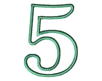 Applique 5 Number Design - Number Applique - Number Font - Birthday - Embroidery Number - Five