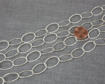 13*20mm Sterling silver Oval Flat ROUND Texturized Chain- Silver and Oxidized