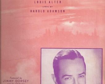 Manhattan Serenade, Vintage Sheet Music, Jimmy Dorsey, Peach Colored Cover Art, 1920s Popular Music, Piano Music