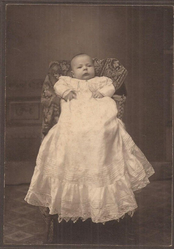 Baby Portrait Victorian Style Christening Gown Vintage