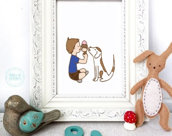 Childrens Art Print Animals, Sharing, Childrens Art Print, Boy and Dog, Nursery Wall, Best Friends